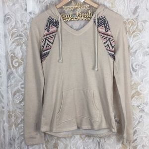 Maurice's S pullover hooded sweatshirt tan Aztec